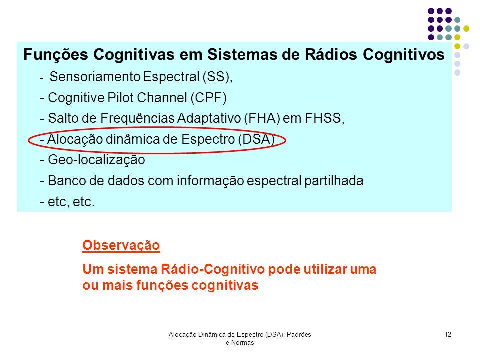 Alocação Dinâmica de Espectro (DSA): Padrões e Normas 12 Funções Cognitivas em Sistemas de Rádios Cognitivos - Sensoriamento Espectral (SS), - Cogniti
