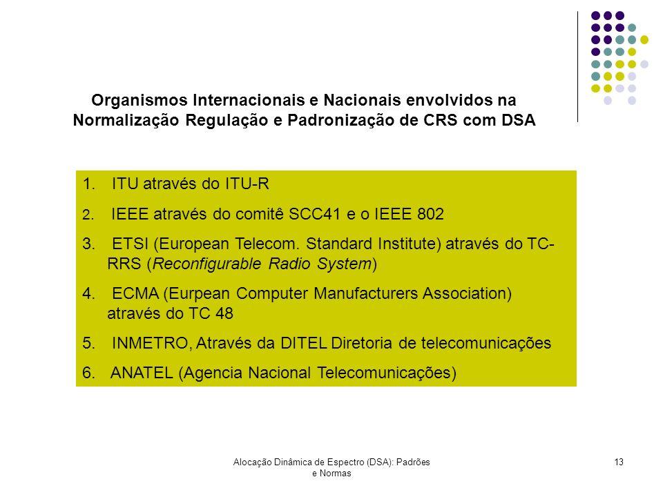 Alocação Dinâmica de Espectro (DSA): Padrões e Normas 13 Organismos Internacionais e Nacionais envolvidos na Normalização Regulação e Padronização de