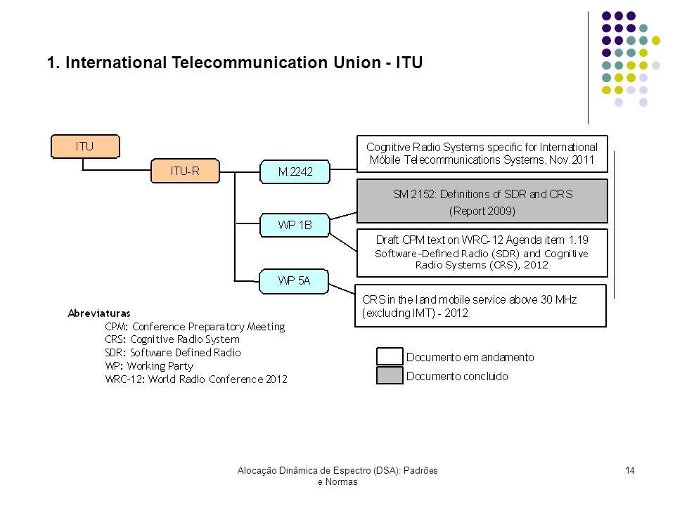 Alocação Dinâmica de Espectro (DSA): Padrões e Normas 14 1. International Telecommunication Union - ITU