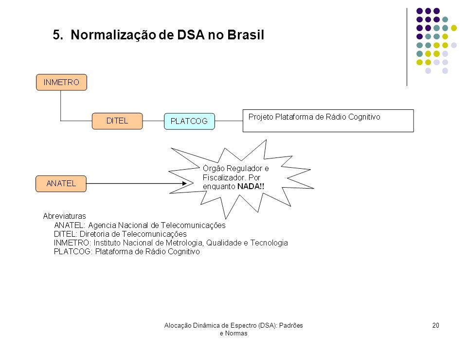 Alocação Dinâmica de Espectro (DSA): Padrões e Normas 20 5. Normalização de DSA no Brasil