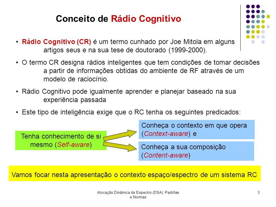 Alocação Dinâmica de Espectro (DSA): Padrões e Normas 3 Conceito de Rádio Cognitivo Rádio Cognitivo (CR) é um termo cunhado por Joe Mitola em alguns a