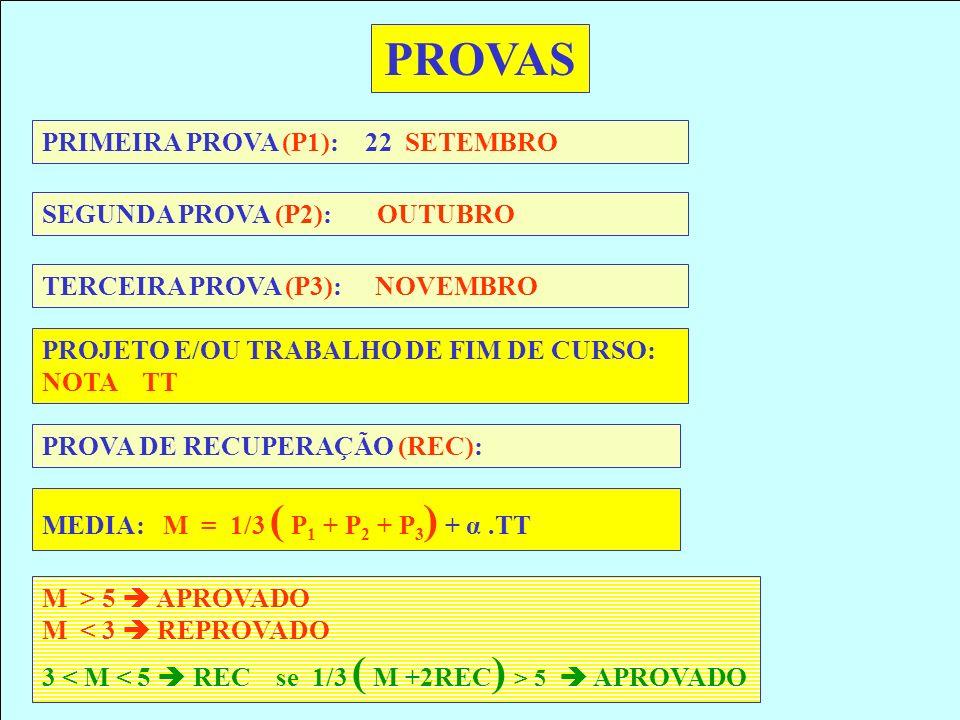 PRIMEIRA PROVA (P1): 22 SETEMBRO SEGUNDA PROVA (P2): OUTUBRO PROJETO E/OU TRABALHO DE FIM DE CURSO: NOTA TT PROVAS TERCEIRA PROVA (P3): NOVEMBRO PROVA