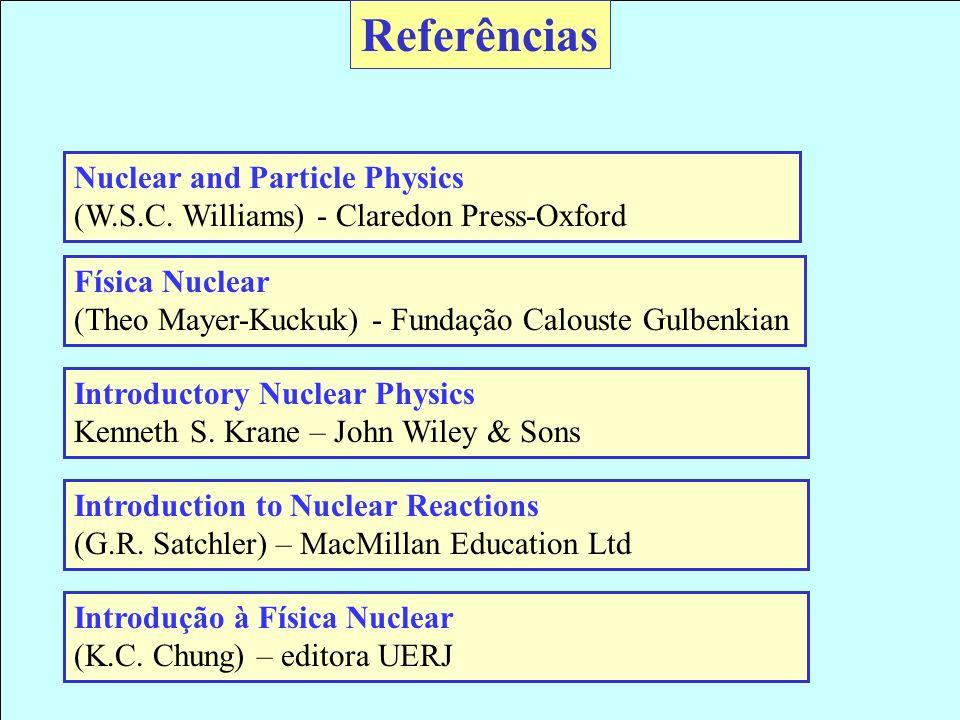 Referências Nuclear and Particle Physics (W.S.C. Williams) - Claredon Press-Oxford Física Nuclear (Theo Mayer-Kuckuk) - Fundação Calouste Gulbenkian I