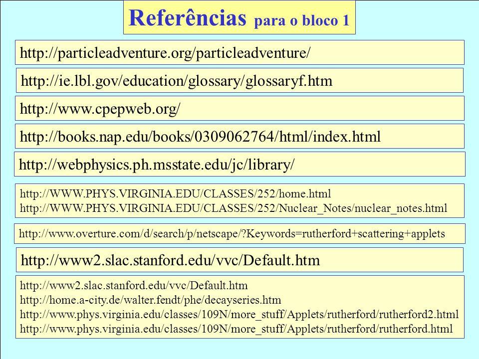 Referências para o bloco 1 http://particleadventure.org/particleadventure/ http://WWW.PHYS.VIRGINIA.EDU/CLASSES/252/home.html http://WWW.PHYS.VIRGINIA
