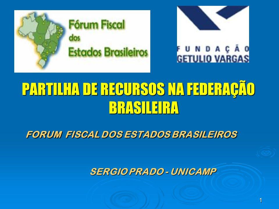 1 PARTILHA DE RECURSOS NA FEDERAÇÃO BRASILEIRA FORUM FISCAL DOS ESTADOS BRASILEIROS SERGIO PRADO - UNICAMP
