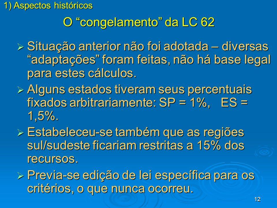 12 O congelamento da LC 62 Situação anterior não foi adotada – diversas adaptações foram feitas, não há base legal para estes cálculos. Situação anter
