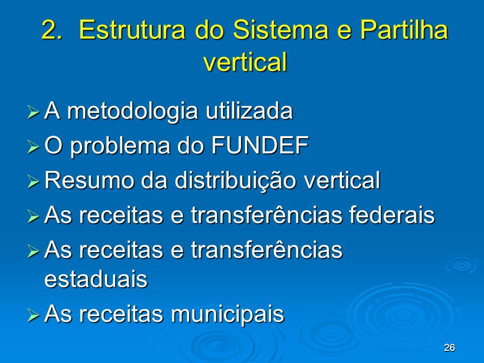 26 2. Estrutura do Sistema e Partilha vertical A metodologia utilizada A metodologia utilizada O problema do FUNDEF O problema do FUNDEF Resumo da dis