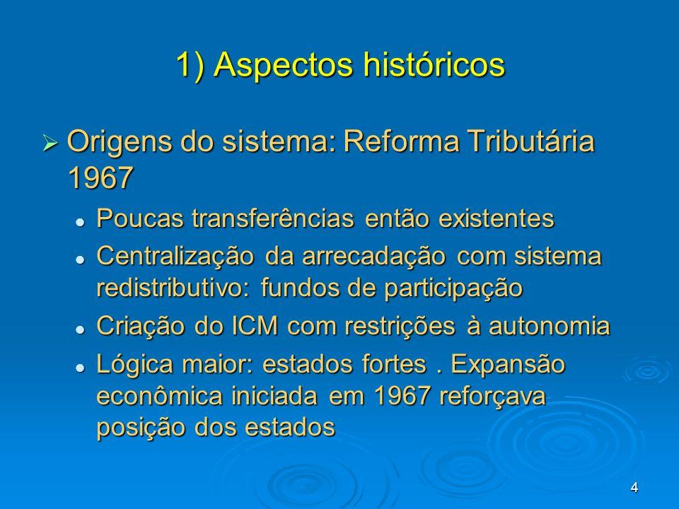 4 1) Aspectos históricos Origens do sistema: Reforma Tributária 1967 Origens do sistema: Reforma Tributária 1967 Poucas transferências então existente
