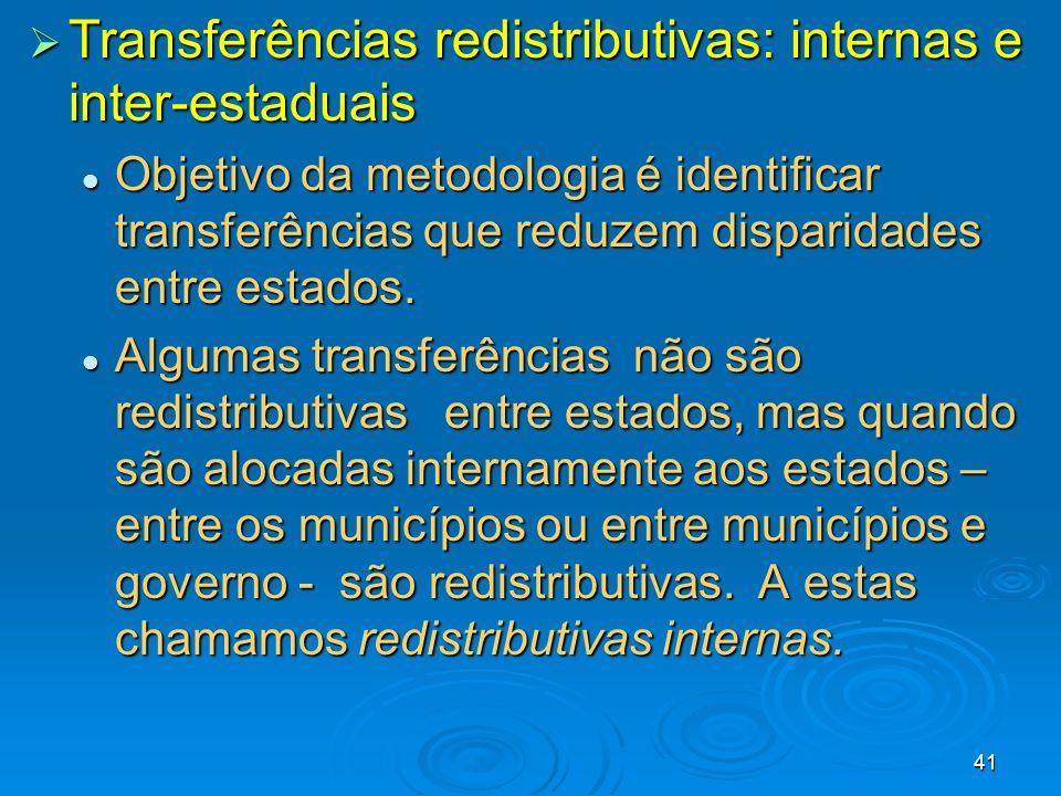 41 Transferências redistributivas: internas e inter-estaduais Transferências redistributivas: internas e inter-estaduais Objetivo da metodologia é ide