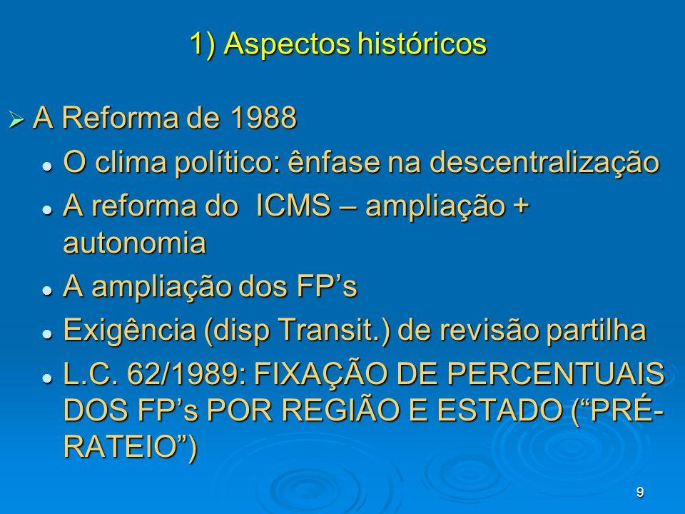 9 A Reforma de 1988 A Reforma de 1988 O clima político: ênfase na descentralização O clima político: ênfase na descentralização A reforma do ICMS – am