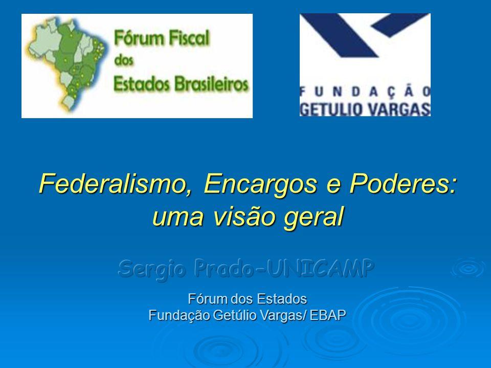 Federalismo, Encargos e Poderes: uma visão geral Fórum dos Estados Fundação Getúlio Vargas/ EBAP