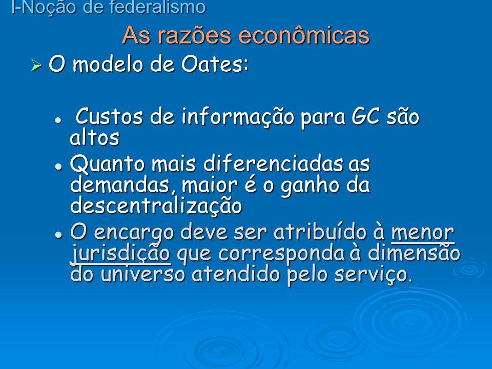 As razões econômicas O modelo de Oates: O modelo de Oates: Custos de informação para GC são altos Custos de informação para GC são altos Quanto mais d