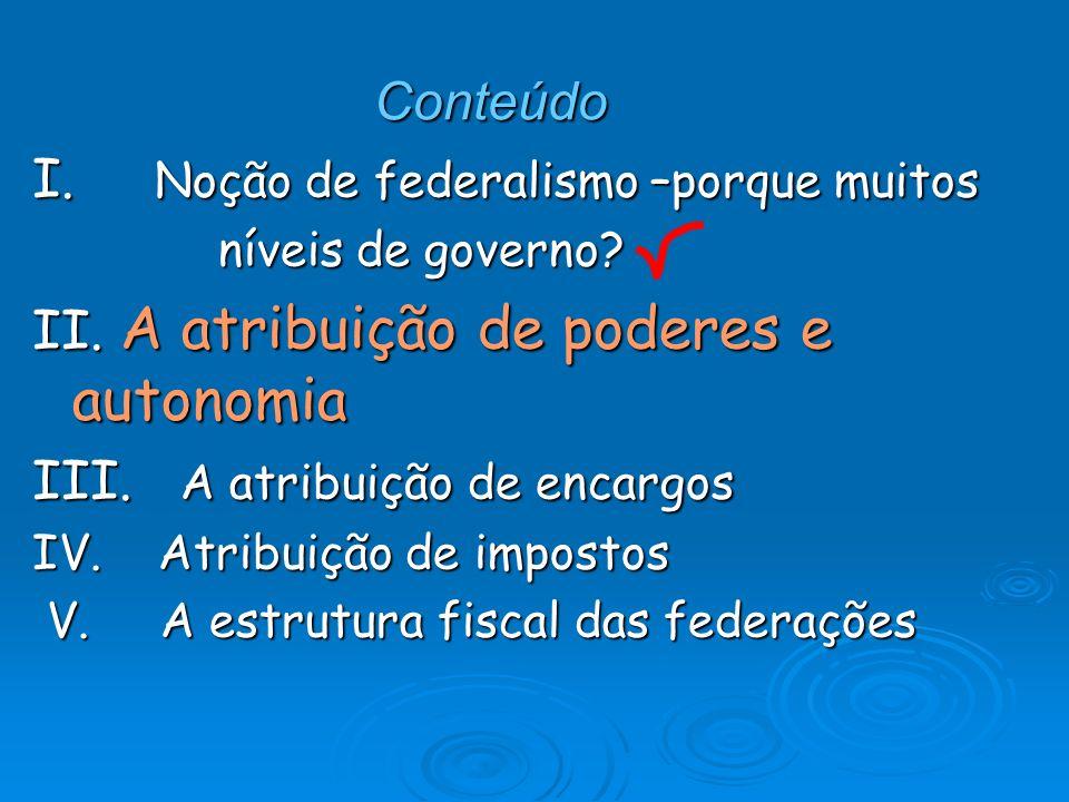 Conteúdo I. Noção de federalismo –porque muitos níveis de governo? níveis de governo? II. A atribuição de poderes e autonomia III. A atribuição de enc