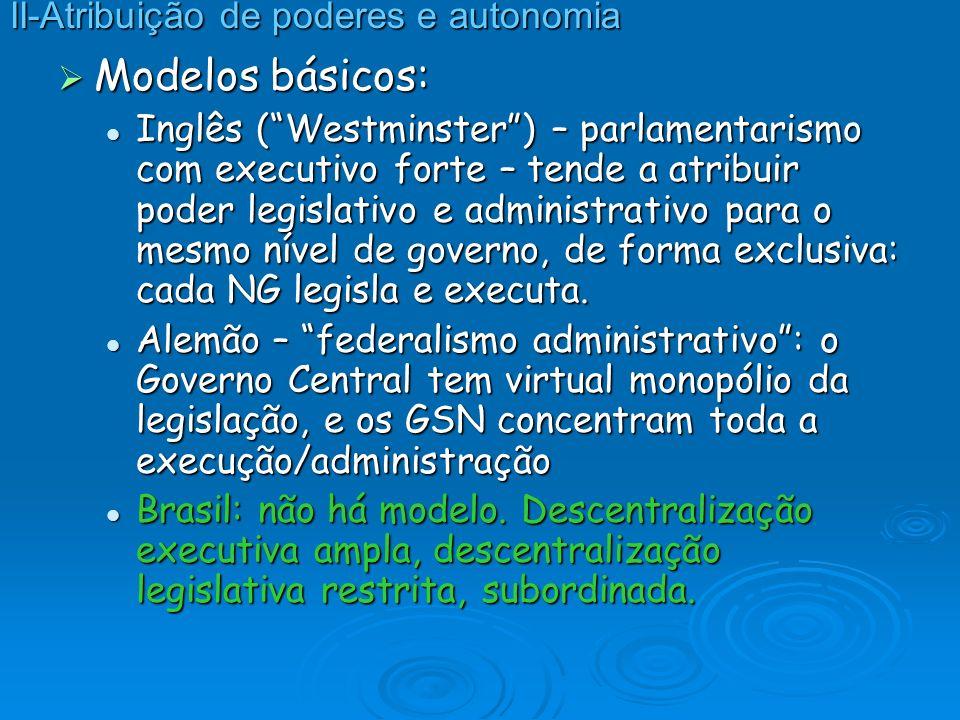 Modelos básicos: Modelos básicos: Inglês (Westminster) – parlamentarismo com executivo forte – tende a atribuir poder legislativo e administrativo par
