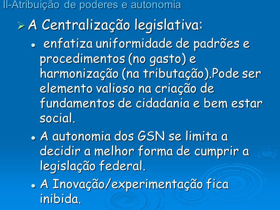 A Centralização legislativa: A Centralização legislativa: enfatiza uniformidade de padrões e procedimentos (no gasto) e harmonização (na tributação).P