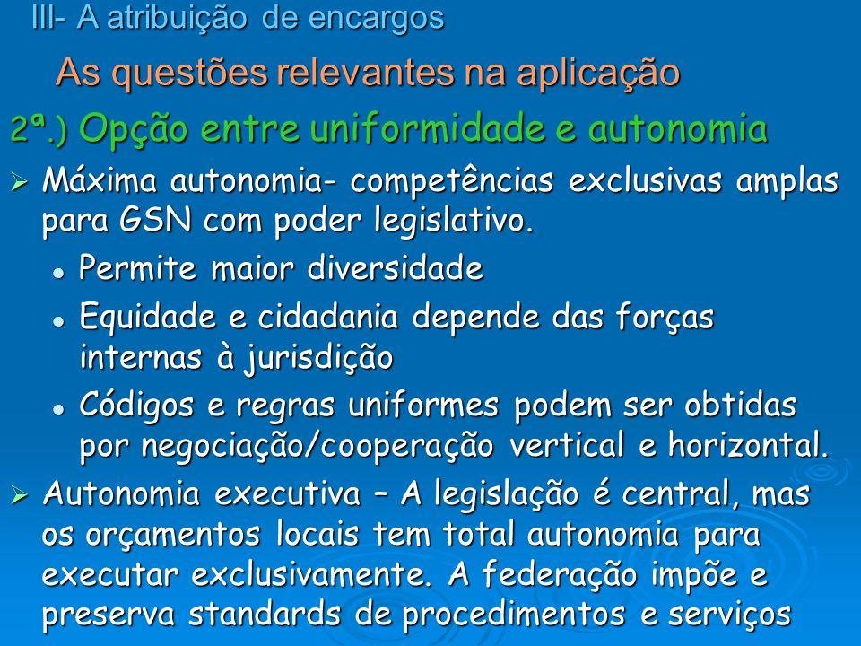 As questões relevantes na aplicação 2ª.) Opção entre uniformidade e autonomia Máxima autonomia- competências exclusivas amplas para GSN com poder legi
