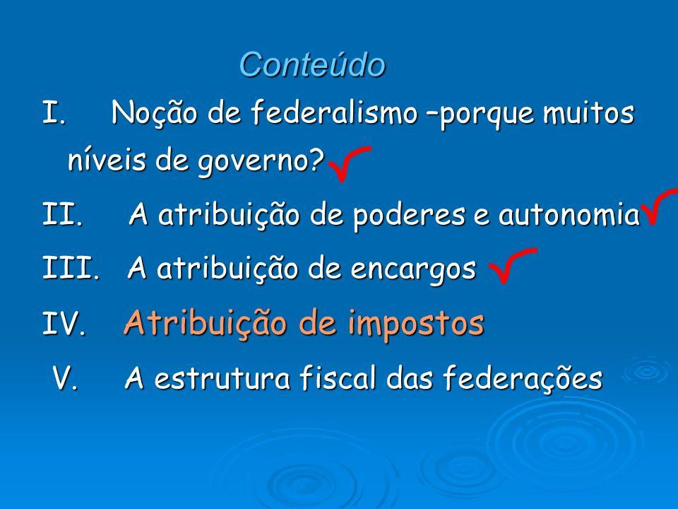 Conteúdo I. Noção de federalismo –porque muitos níveis de governo? II. A atribuição de poderes e autonomia III. A atribuição de encargos IV. Atribuiçã
