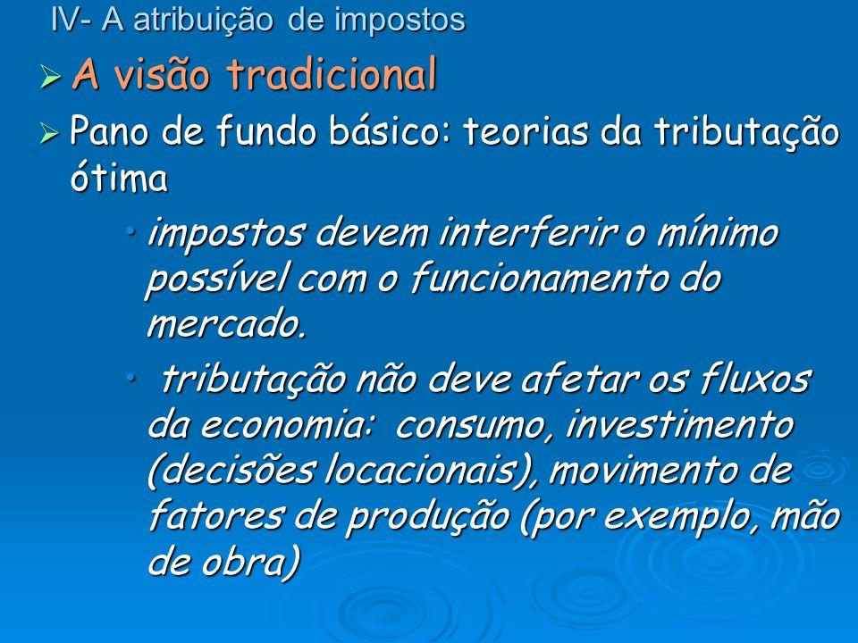IV- A atribuição de impostos A visão tradicional A visão tradicional Pano de fundo básico: teorias da tributação ótima Pano de fundo básico: teorias d
