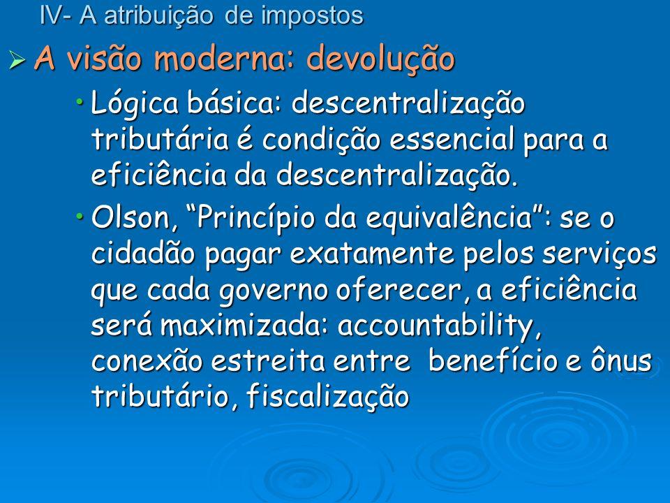 IV- A atribuição de impostos A visão moderna: devolução A visão moderna: devolução Lógica básica: descentralização tributária é condição essencial par