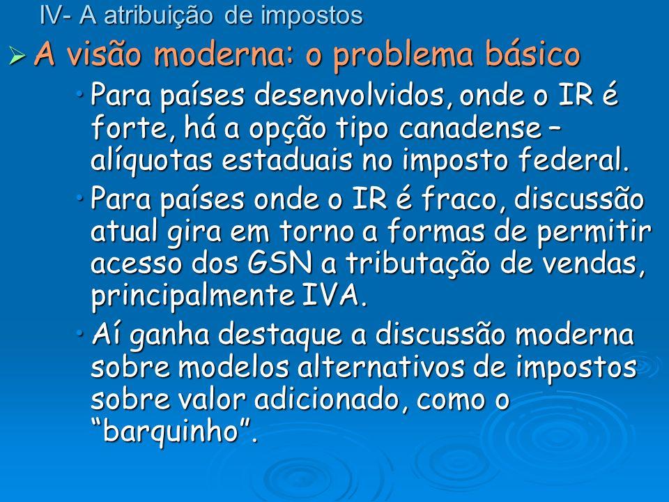 IV- A atribuição de impostos A visão moderna: o problema básico A visão moderna: o problema básico Para países desenvolvidos, onde o IR é forte, há a