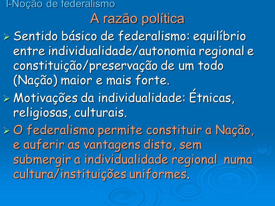 A razão política Sentido básico de federalismo: equilíbrio entre individualidade/autonomia regional e constituição/preservação de um todo (Nação) maio