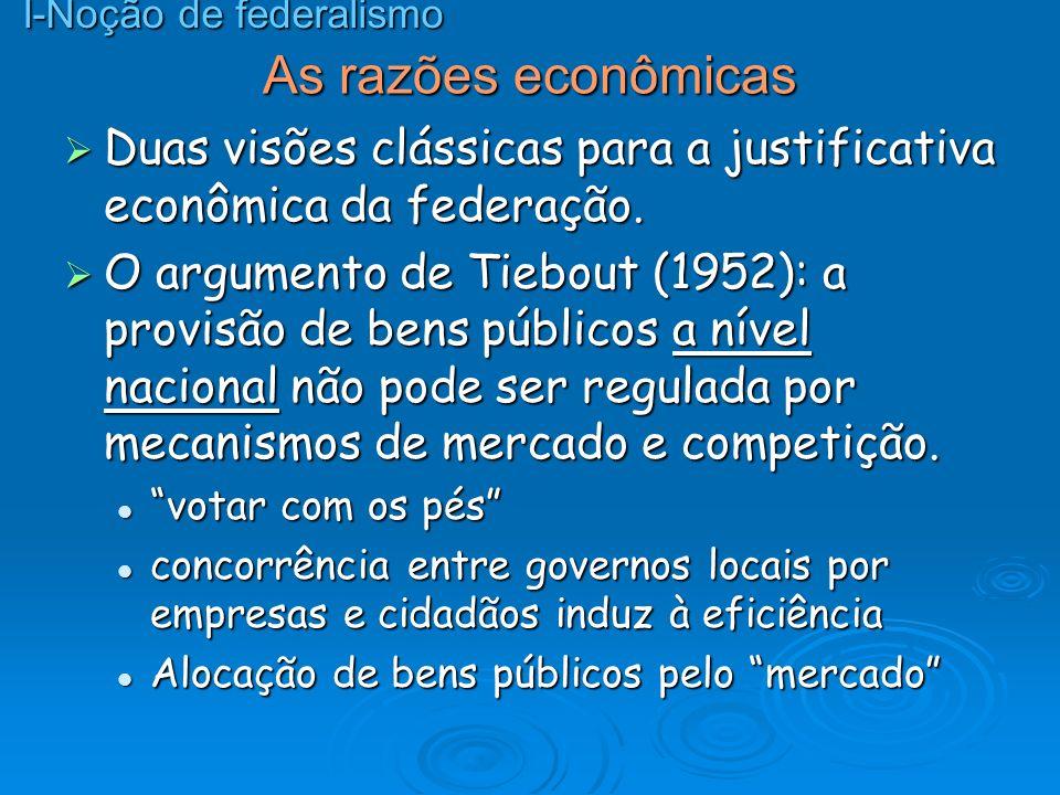 As razões econômicas Duas visões clássicas para a justificativa econômica da federação. Duas visões clássicas para a justificativa econômica da federa
