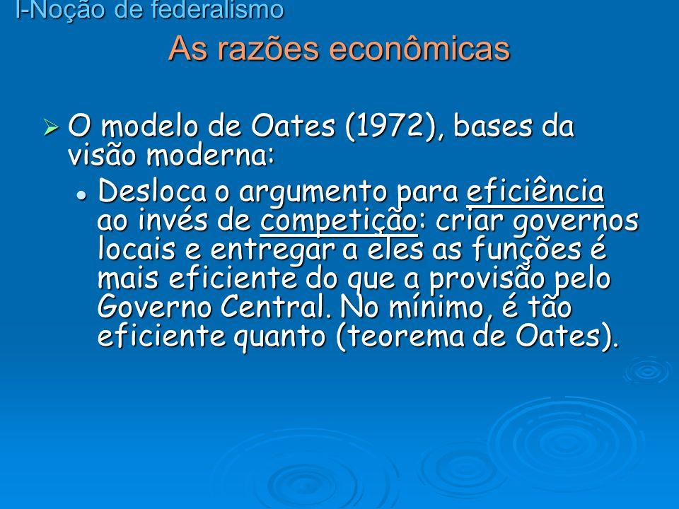 As razões econômicas O modelo de Oates (1972), bases da visão moderna: O modelo de Oates (1972), bases da visão moderna: Desloca o argumento para efic