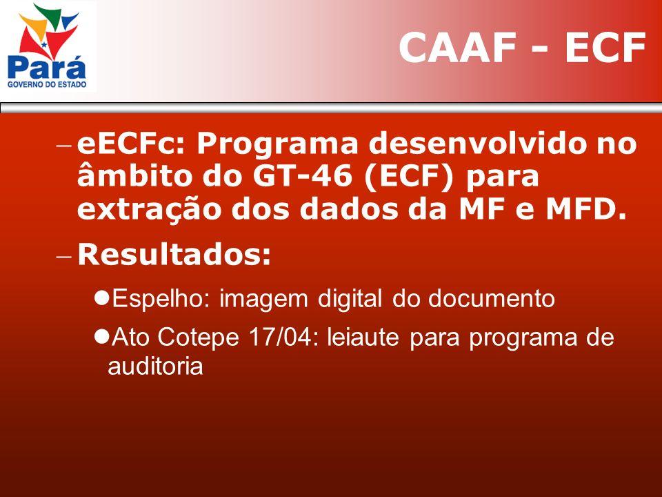 eECFc: Programa desenvolvido no âmbito do GT-46 (ECF) para extração dos dados da MF e MFD. Resultados: Espelho: imagem digital do documento Ato Cotepe