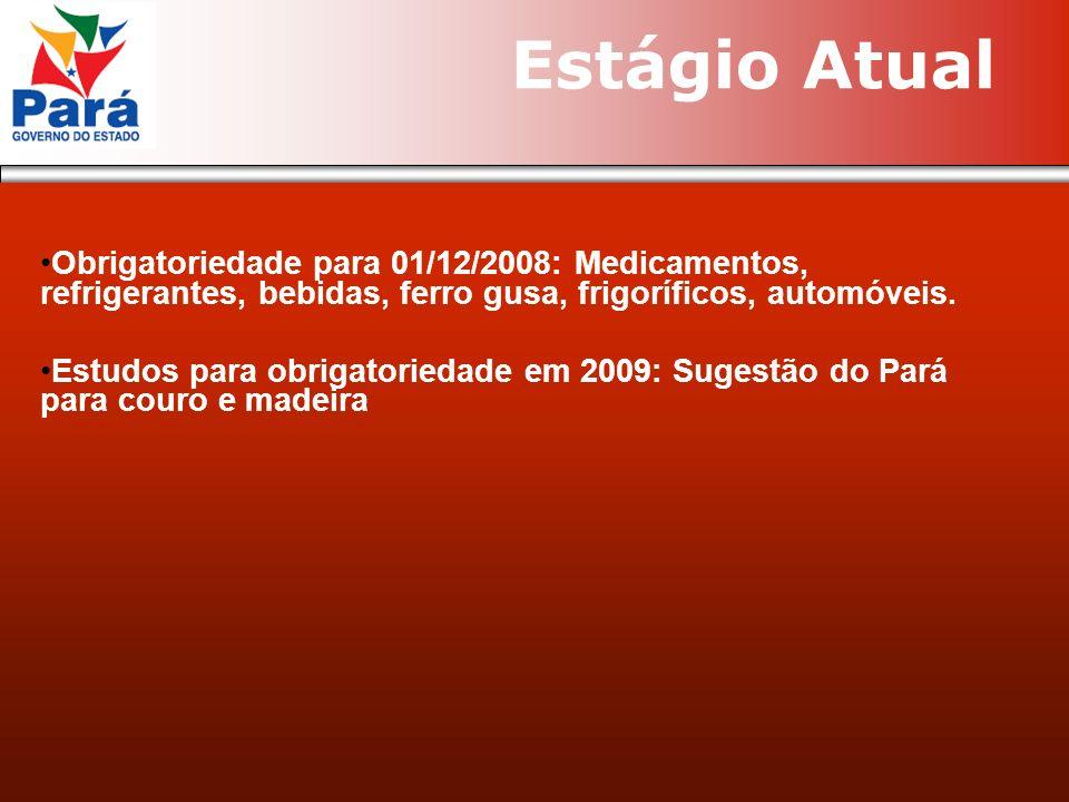 Obrigatoriedade para 01/12/2008: Medicamentos, refrigerantes, bebidas, ferro gusa, frigoríficos, automóveis. Estudos para obrigatoriedade em 2009: Sug