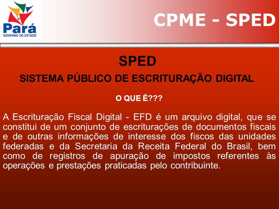 O QUE É??? A Escrituração Fiscal Digital - EFD é um arquivo digital, que se constitui de um conjunto de escriturações de documentos fiscais e de outra