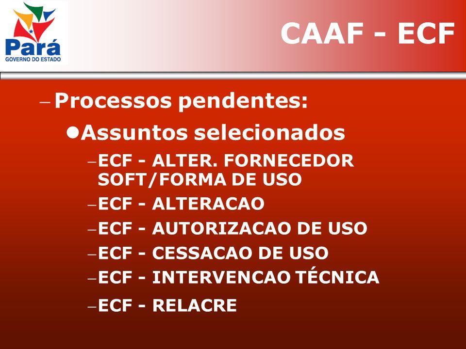 Processos pendentes: Assuntos selecionados ECF - ALTER. FORNECEDOR SOFT/FORMA DE USO ECF - ALTERACAO ECF - AUTORIZACAO DE USO ECF - CESSACAO DE USO EC