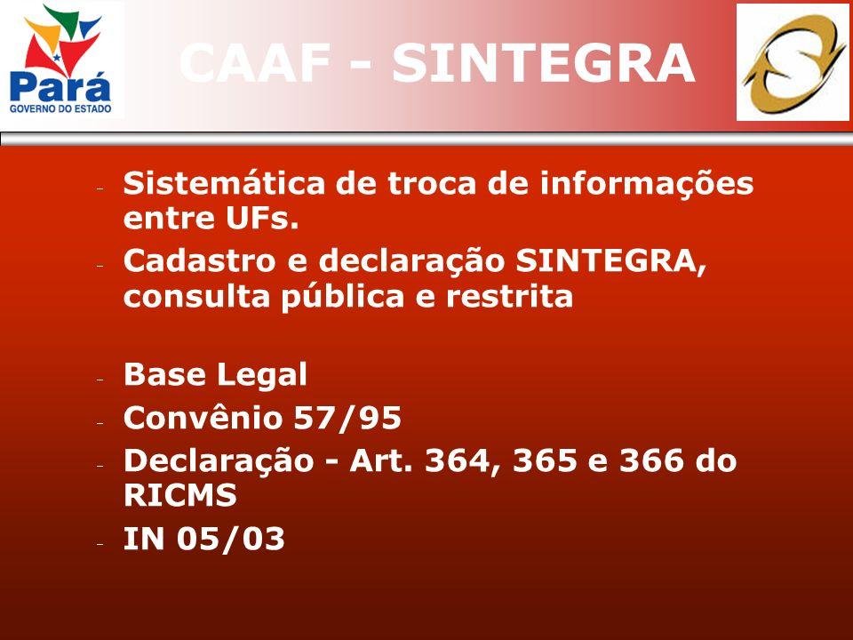 CAAF - SINTEGRA Sistemática de troca de informações entre UFs. Cadastro e declaração SINTEGRA, consulta pública e restrita Base Legal Convênio 57/95 D