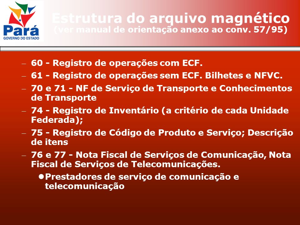 60 - Registro de operações com ECF. 61 - Registro de operações sem ECF. Bilhetes e NFVC. 70 e 71 - NF de Serviço de Transporte e Conhecimentos de Tran