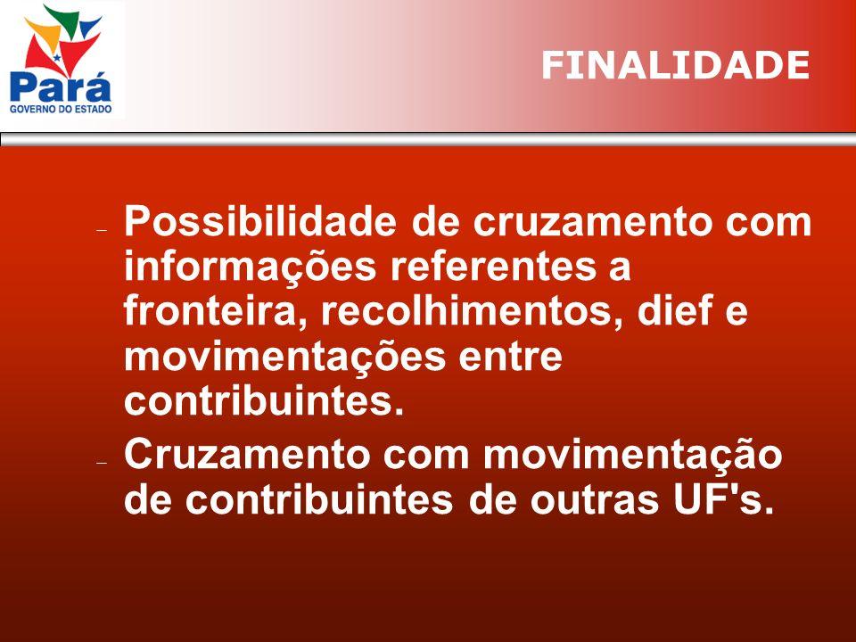 Possibilidade de cruzamento com informações referentes a fronteira, recolhimentos, dief e movimentações entre contribuintes.