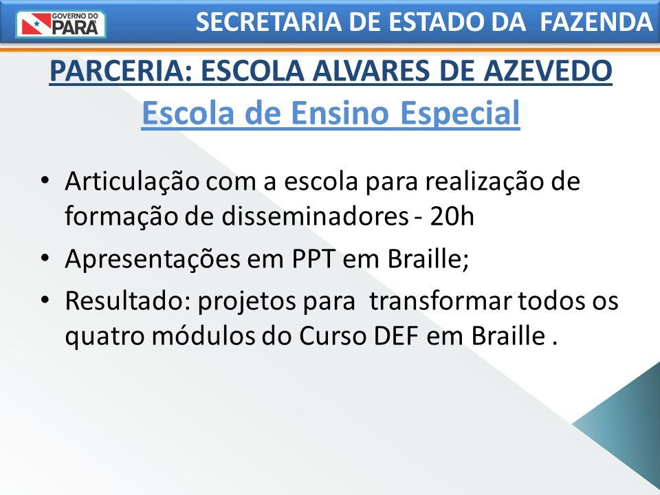 SECRETARIA DE ESTADO DA FAZENDA Articulação com a escola para realização de formação de disseminadores - 20h Apresentações em PPT em Braille; Resultad