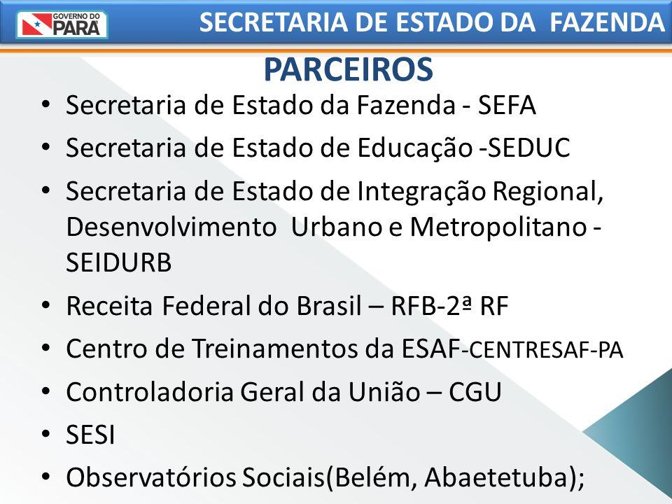 PARCEIROS SECRETARIA DE ESTADO DA FAZENDA Secretaria de Estado da Fazenda - SEFA Secretaria de Estado de Educação -SEDUC Secretaria de Estado de Integ