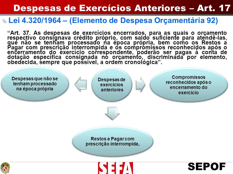 SEPOF Despesas de exercícios anteriores Restos a Pagar com prescrição interrompida, Compromissos reconhecidos após o encerramento do exercício Despesa