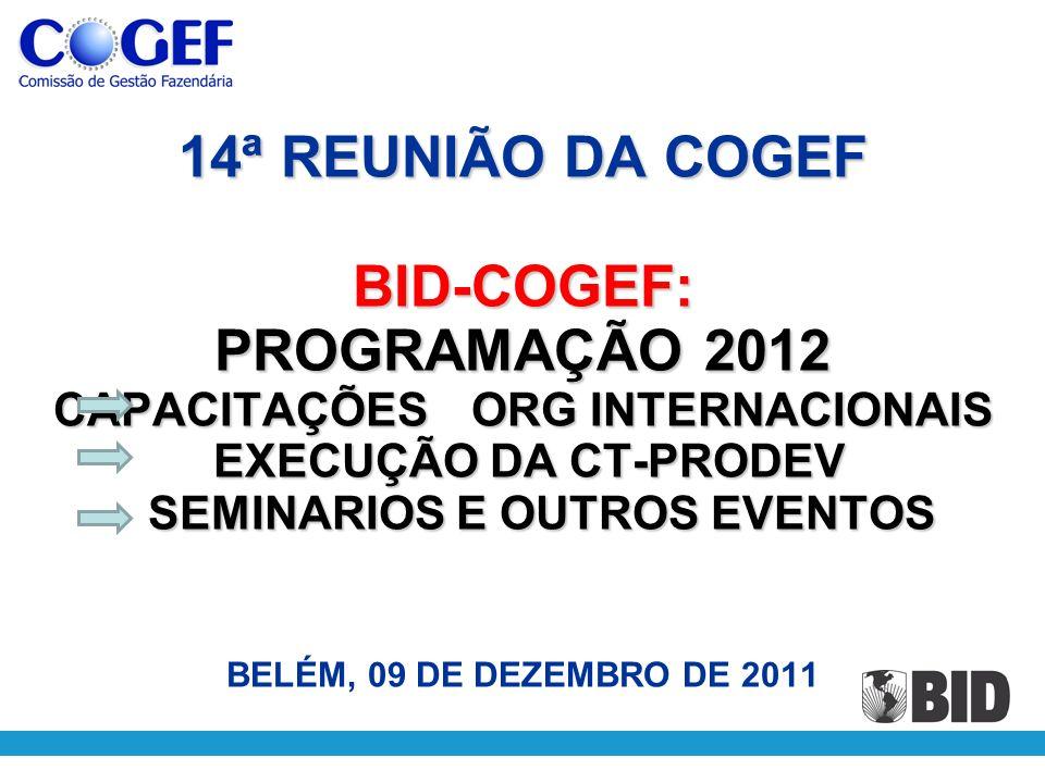 14ª REUNIÃO DA COGEF BID-COGEF: PROGRAMAÇÃO 2012 CAPACITAÇÕESORG INTERNACIONAIS EXECUÇÃO DA CT-PRODEV SEMINARIOS E OUTROS EVENTOS 14ª REUNIÃO DA COGEF BID-COGEF: PROGRAMAÇÃO 2012 CAPACITAÇÕESORG INTERNACIONAIS EXECUÇÃO DA CT-PRODEV SEMINARIOS E OUTROS EVENTOS BELÉM, 09 DE DEZEMBRO DE 2011