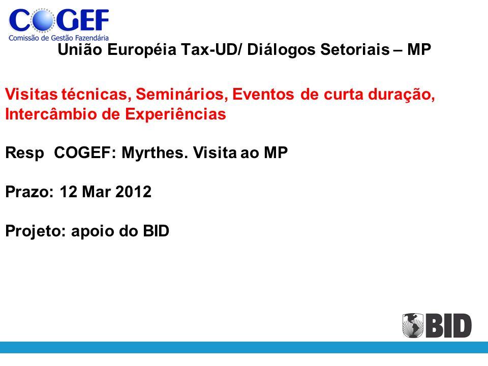 União Européia Tax-UD/ Diálogos Setoriais – MP Visitas técnicas, Seminários, Eventos de curta duração, Intercâmbio de Experiências Resp COGEF: Myrthes.