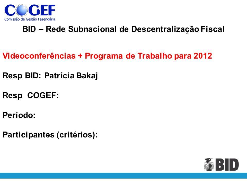 BID – Rede Subnacional de Descentralização Fiscal Videoconferências + Programa de Trabalho para 2012 Resp BID: Patrícia Bakaj Resp COGEF: Período: Participantes (critérios):