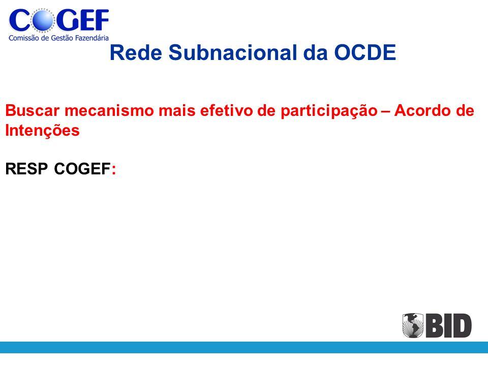 Buscar mecanismo mais efetivo de participação – Acordo de Intenções RESP COGEF: Rede Subnacional da OCDE
