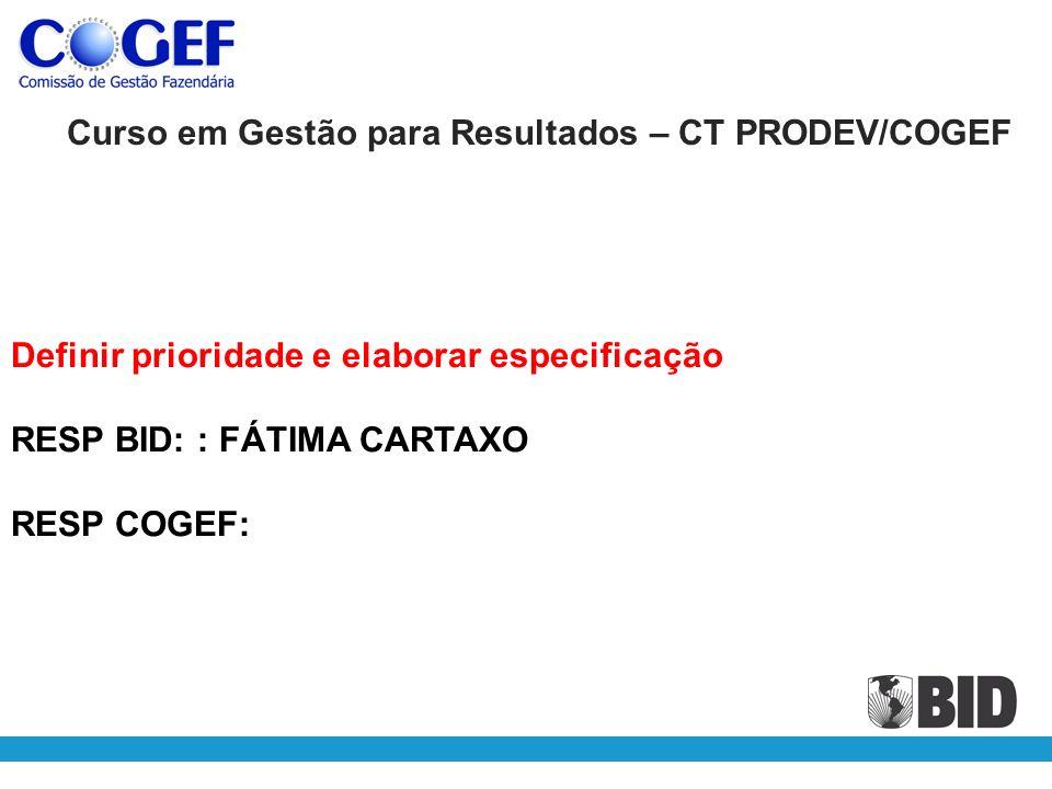 Definir prioridade e elaborar especificação RESP BID: : FÁTIMA CARTAXO RESP COGEF: Curso em Gestão para Resultados – CT PRODEV/COGEF