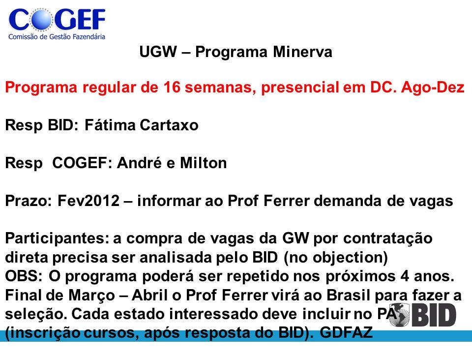 UGW – Programa Minerva Programa regular de 16 semanas, presencial em DC.