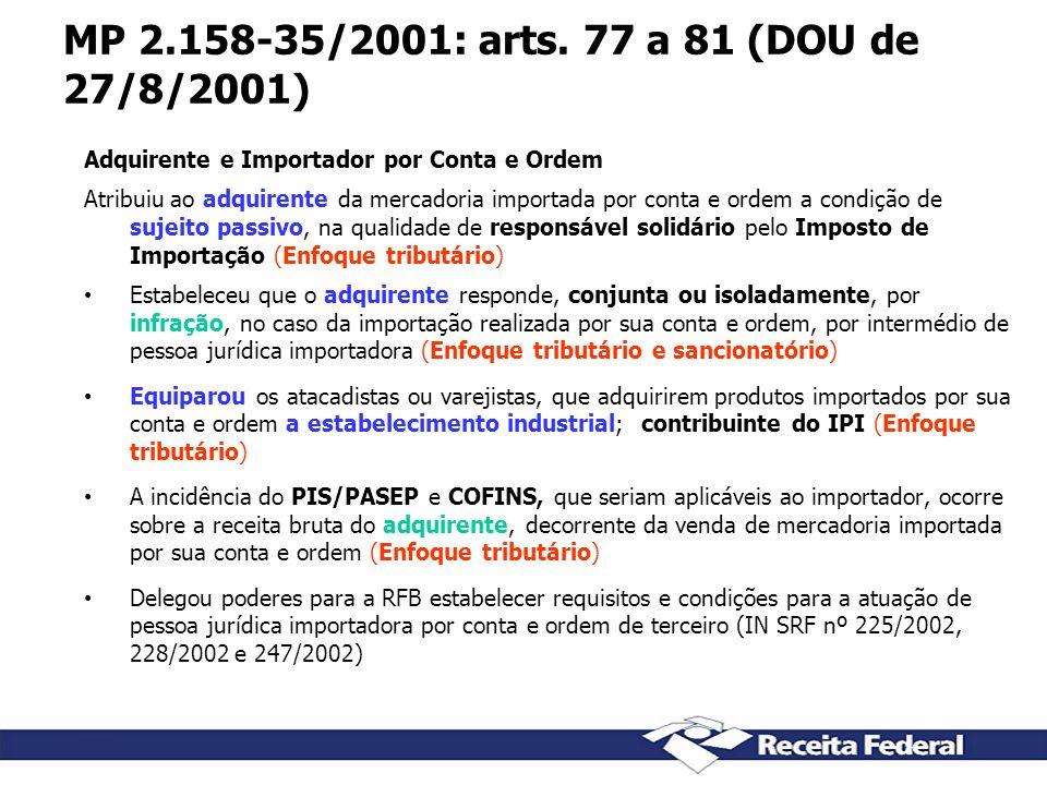 MP 2.158-35/2001: arts. 77 a 81 (DOU de 27/8/2001) Adquirente e Importador por Conta e Ordem Atribuiu ao adquirente da mercadoria importada por conta