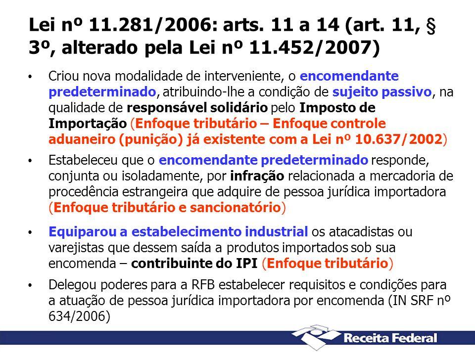 Lei nº 11.281/2006: arts. 11 a 14 (art. 11, § 3º, alterado pela Lei nº 11.452/2007) Criou nova modalidade de interveniente, o encomendante predetermin