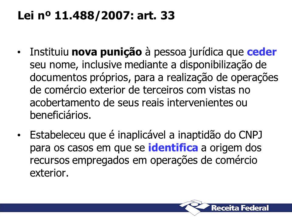 Lei nº 11.488/2007: art. 33 Instituiu nova punição à pessoa jurídica que ceder seu nome, inclusive mediante a disponibilização de documentos próprios,