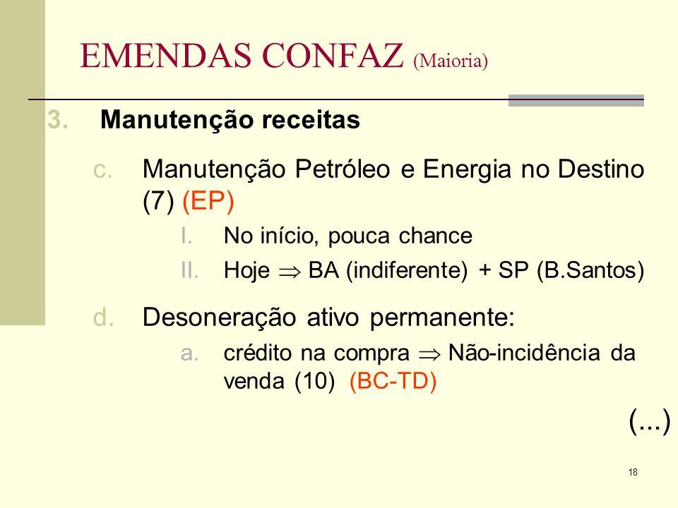18 EMENDAS CONFAZ (Maioria) 3.Manutenção receitas c.Manutenção Petróleo e Energia no Destino (7) (EP) I.No início, pouca chance II.Hoje BA (indiferente) + SP (B.Santos) d.Desoneração ativo permanente: a.crédito na compra Não-incidência da venda (10) (BC-TD) (...)
