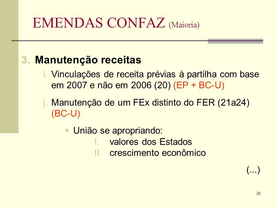 20 EMENDAS CONFAZ (Maioria) 3.Manutenção receitas i.Vinculações de receita prévias à partilha com base em 2007 e não em 2006 (20) (EP + BC-U) j.Manutenção de um FEx distinto do FER (21a24) (BC-U) União se apropriando: I.valores dos Estados II.crescimento econômico (...)
