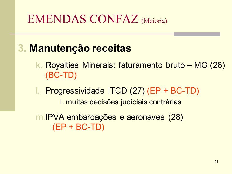 24 EMENDAS CONFAZ (Maioria) 3.Manutenção receitas k.Royalties Minerais: faturamento bruto – MG (26) (BC-TD) l.Progressividade ITCD (27) (EP + BC-TD) I.muitas decisões judiciais contrárias m.IPVA embarcações e aeronaves (28) (EP + BC-TD)