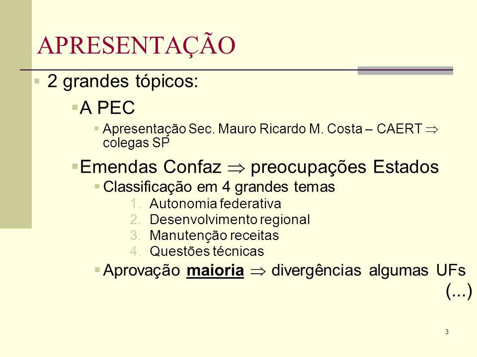 14 EMENDAS CONFAZ (Maioria) 2.Desenvolvimento regional a.Uso e consumo princípio misto 1° ano subseqüente à PEC (8) I.Hoje tributado na origem II.Renda Estados produtores consumidores b.Recursos suficientes para o FNDR (21a24) c.Convalidação benefícios concedidos e manutenção com recursos FNDR (33e34) I.Desenvolvimento regional x guerra fiscal (...)